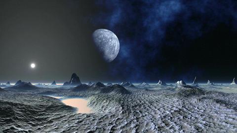The Planet Flies Over an Alien Landscape Animation