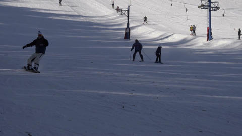 Tourists relax at the mountains ski resort Footage