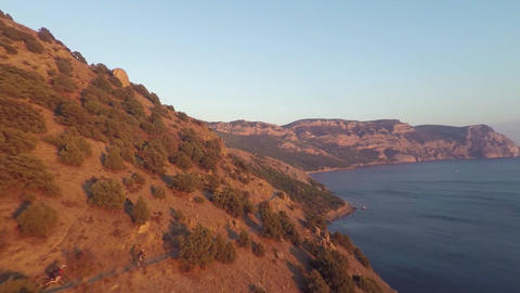 Aerial View of Besh-Kosh mountain, near Bakhchisaray. Crimea. Autumn Summer. Sun