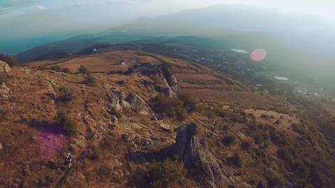 Aerial View of Besh-Kosh mountain, near Bakhchisaray. Crimea. Autumn Summer. Sun GIF