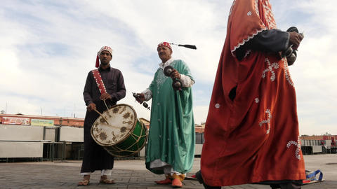 music players in national costumes at Jemaa el Fna in Marrakesh Footage