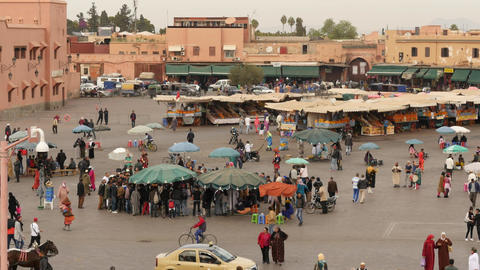 Jemma El Fna - main square in Marrakesh of Morocco - top view Footage