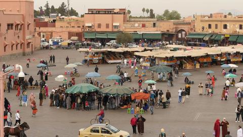 Jemma El Fna - main square in Marrakesh of Morocco - top view Footage
