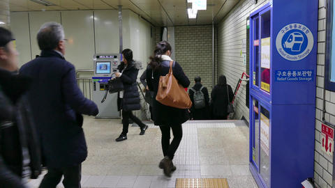 People Travelers Walking In Seoul Subway Station South Korea Asia Live Action