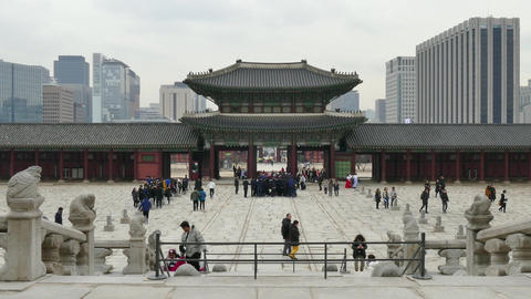 Tourists People Visiting Gyeongbokgung Palace in Seoul South Korea Asia Live Action