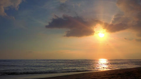 Spectacular sunset seascape with last beams of setting sun. Perfect Bali Footage