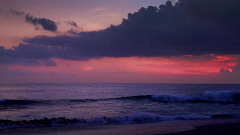 Rolling ocean waves breaking on shore in twilight. Perfect vacation at Bali Footage