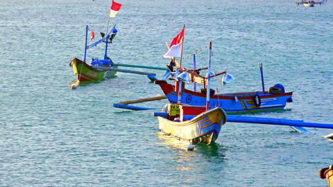 Bright colored Balinese outrigger fishing boats with flying Indonesian flags Footage
