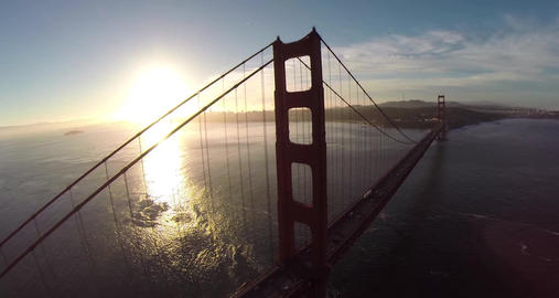 Golden Gate Bridge. Aerial shot of the Golden Gate Bridge in San Francisco on a  Filmmaterial