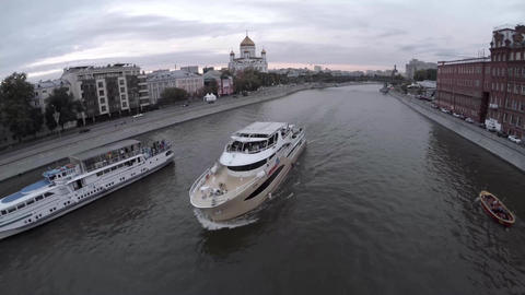 Aerial of moscow river navigation. Boat. Cathedral of Christ the Saviour. Moscow Footage
