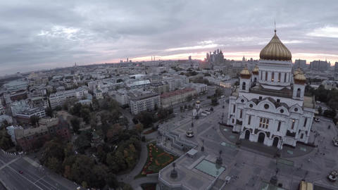 Aerial shot of grand building of Cathedral of Christ the Saviour. Famous Orthodo
