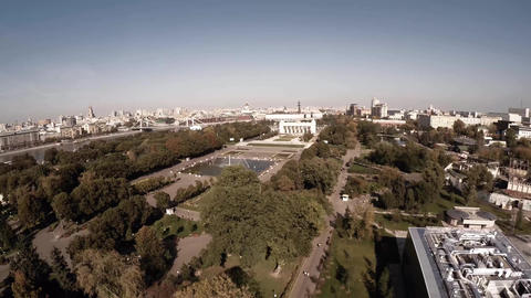 Central Moscow Gorky park. Crowds of people walking over central park in Moscow Footage