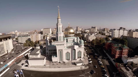 Moscow Cathedral Mosque. New religion construction in Russia. Largest in Europe Footage