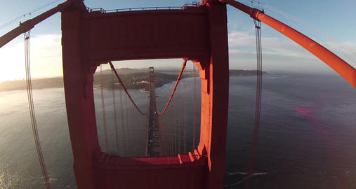 Aerial shot of the Golden Gate Bridge in San Francisco on a clear, sunny day