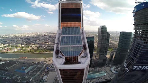 Mercury City Tower. Moscow city. Modern architecture buildings. Moscow Downtown Filmmaterial