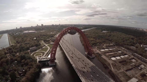 Zhivopisnyi Most (trsl.-Picturesque Bridge) over Moscow River Footage
