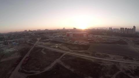 Spartak Otkritie Arena stadium. FIFA 2018. Aerial drone view. Flying on Smog fie ビデオ