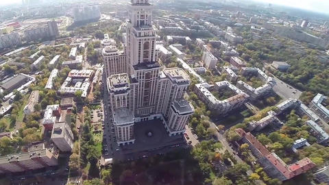 Highest Moscow Building Triumph-Palace. Exterior of skyscraper Footage
