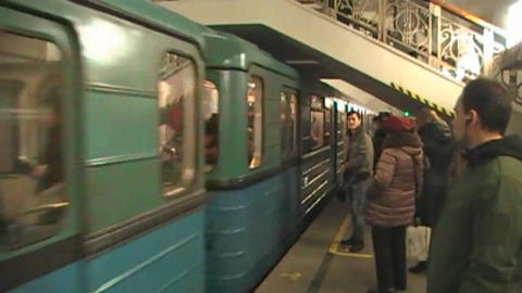 The arrival of the train in Moscow metro Live Action