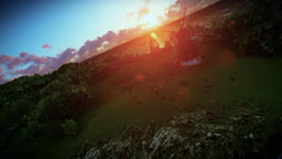 Sheeps on green meadow and windmill at sunset, camera fly Animation