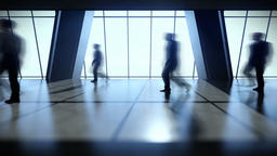 Business People Silhouettes Walking Commuter, Rear View City Skyline Animation