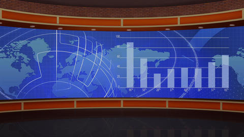 HD News TV-51 Virtual Studio Green Screen Background blue colour with Bar Graph Animation