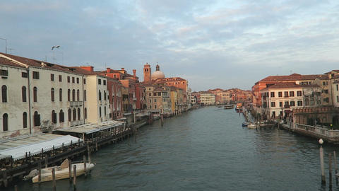 Venice, Italy Grand Canal view with historic buildings and mooring piles 画像