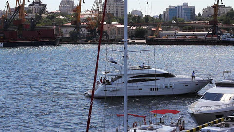 Berth Yacht In The Sea Port Footage