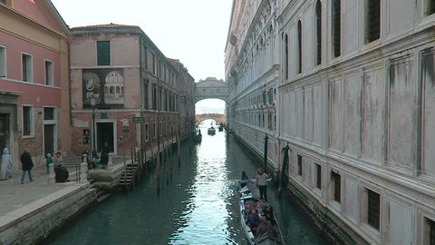 Venice, Italy a gondola with tourists under Bridge of Sighs Footage