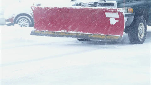 Snow plowing in winter time 2 Stock Video Footage