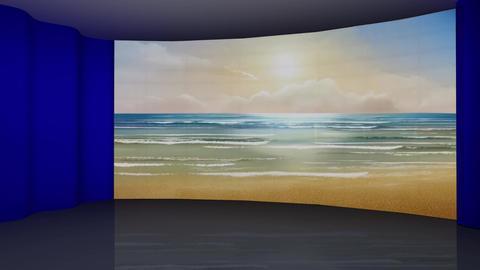 HD News-56 Virtual Studio Green Screen Blue Background Beach Animation