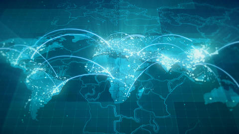 Globalization World Map Animation 4K Blue Animation