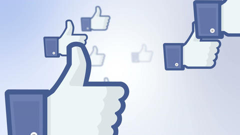 Facebook like thumbs flying by on blue white background Animation