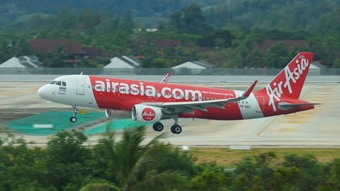 Thai AirAsia Airbus A320-216(WL) HS-BBV approaching at Phuket Airport Footage