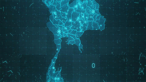 Thailand Map Background Cities Connections 4K Footage