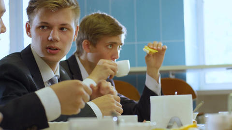 Closeup Teenager in Uniform Speak with Friend in School Lunch Footage
