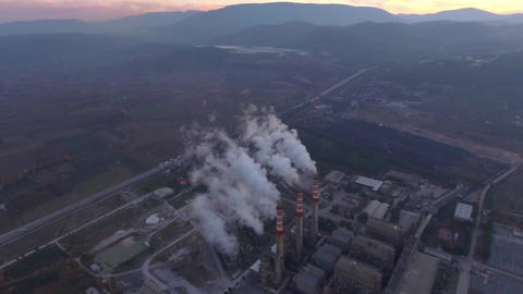 Coal Based Power Plant Aerial Footage, Turkey Filmmaterial