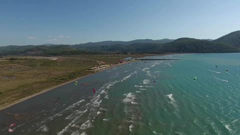 Kite Surfing and nice Waves, Akyaka Turkey Filmmaterial