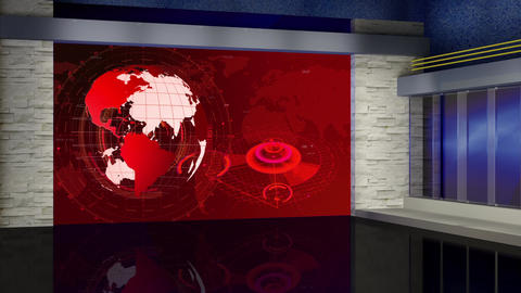 HD News-61 TV Virtual Studio Green Screen Background Red with Globe Animation