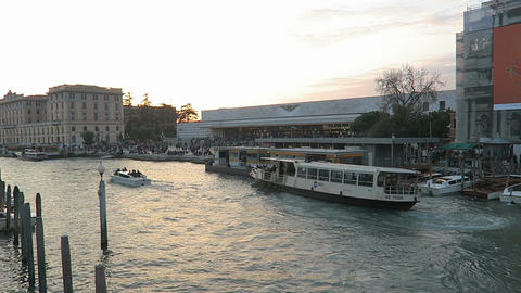 Venice, Italy ACTV water bus at Ferrovia train station stop Live Action