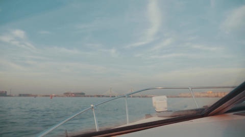 Boat floating on river in summer beautiful day. Bridge. Nature. Romantic Footage