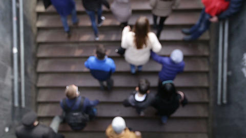 Blur people walking up the stairs of metro station Footage