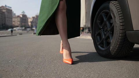 Sexy woman's legs in high heels walking in street Footage