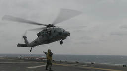 Navy and Marine Helicopters SAR Efforts Around Sunken Ferry Sewol Site Footage