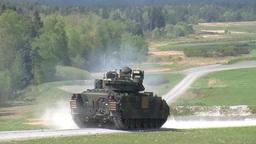 Bradley Tanks At Grafenwoehr Range stock footage
