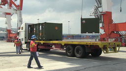 Offloading Cargo Containers Footage