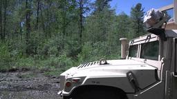 Military Police Company Humvee fire their guns Footage