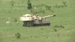 1-82 FA Paladins Tanks Move and Set Up Firing Point Footage