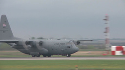 C-130 Hercules transport aircraft operations at Maple Flag 2014 Footage
