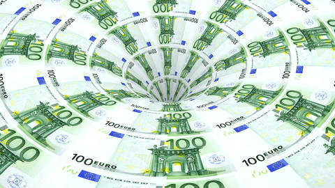 euro banknotes flow in hole Animation